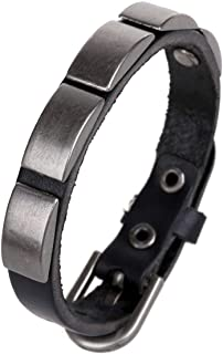 Leather Bracelet Wristband Men and Women Personality Leather Wristband Rivet Chain Surf Style Black