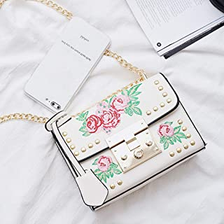 Wultia - Bags for WAMEN Women Messenger Bags Embroidery Rose Crossbody Shoulder Bags Chain Body Bags Bolsa Feminina White