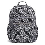 Vera Bradley Women's Signature Cotton Campus Backpack, Charcoal Medallion, One Size
