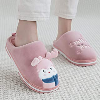Winter Home Warm Cartoon Plush Cotton Slippers-Comfortable Indoor Thick Bottom Non-Slip TPR Couple Men's Home,Red,40
