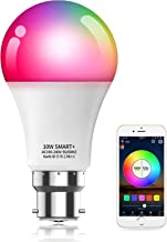 Alexa Compatible Smart Light Bulb with Remote, Vanance 10W 800LM B22 Bayonet WiFi & Bluetooth Dimmable White and Color Cha...