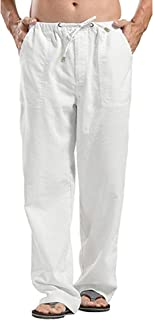Oyamiki Men's Linen Relaxed-Fit Elastic Waist Straight Pants Loose Beach Pant with Drawstring