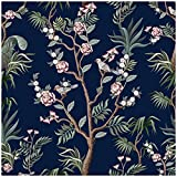 HaokHome 93094 Peel and Stick Wallpaper Floral Forest Navy/Green/Pink Removable Bedroom Wall Decorations 17.7in x 118in