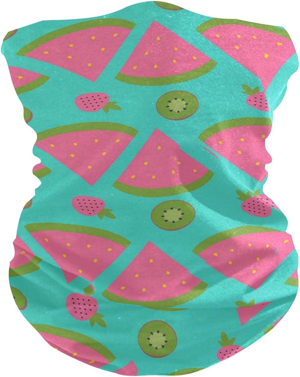 Face Mask Bandana for Women Men, Cartoon Watermelon Pattern Neck Gaiter Balaclava Face Cover Sun Dust Mask Magic Scarf Headwear