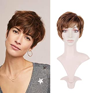 Creamily Women Auburn Brown Short Layered Wig with Bangs Pixie Cut Synthetic Full Replacement Hair Heat Resistant Cosplay Costume Party Wigs with Cap