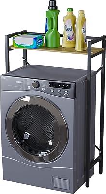洗濯機上ラック ランドリー収納 洗濯機ラック 洗濯機に対応 可動棚 掛ける収納 ぐらつき防止 棚 収納 組立品 省スペース 各層の耐荷重は15kgです シンプル 幅63.5cm×奥行28cm×高さ101cm ブラック