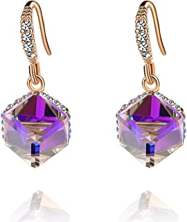 Colorful Cube Swarovski Crystal Dangle Earrings for Women 14K Gold Plated Hypoallergenic Color Changing Drop Earrings