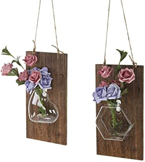 Ivolador Wall Glass Hanging Planter with Wooden Board for Wall Background Decoration Perfect for Propagating Hydroponic Plants Home Garden Wedding D((Wood + Love Shape vase) +(Wood + Hexagonal vase))