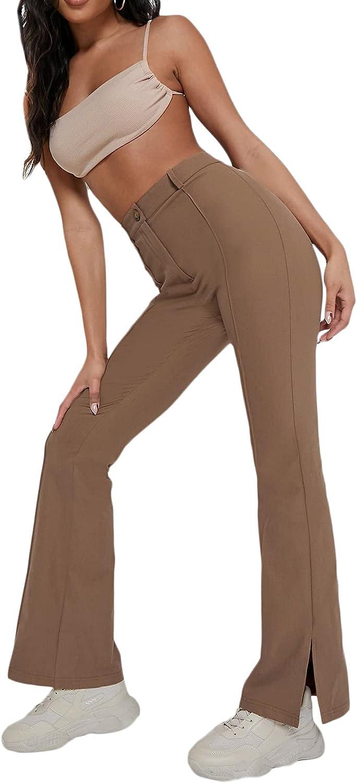 Romwe Women's High Waist Flared Leg Pants Bell Bottom Split Wide Leg Pants