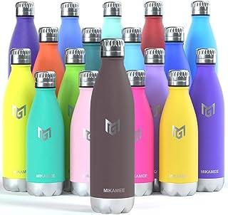 MIKAMEE Isolerade vattenflaskor, 350ml, 500ml, 650ml, 750ml metall vattenflaska, barn BPA-fri, läckagesäker håller kyl...