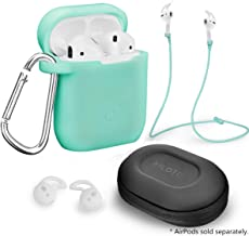 Airpods Accessories Set, Filoto Airpods Waterproof Silicone Case Cover with Keychain/Strap/Earhooks/Accessories Storage Travel Box for Apple Airpod (Mint Green)