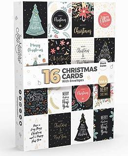 Joy Masters - 16 Tarjetas de Navidad - Caja de Christmas Surtidos en Blanco para Niños y Adultos - Vol. 4