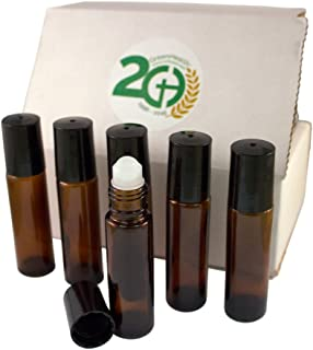 Aromatherapy - Amber Glass Bottle with Roll On Applicator and Black Cap - 10 ml - Package of 6