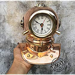 AV Table/Shelf Vintage Clock Solid Brass Clocks Scuba Helmet Marine Ship Clocks Home Decor Figurines