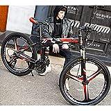 ZEIYUQI 26 Zoll Männer Mountainbikes Erwachsener Foldaway Bikes Doppelscheibenbremse Fahrräder Outdoor-Reisen Wandern 10 Spoke,Rot,21 * 24'*3