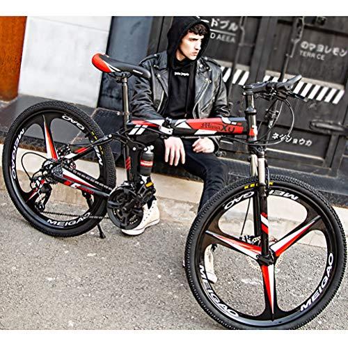 ZEIYUQI Bicicleta Portátil para Adultos Plegable 24 Pulgadas Marco De Acero De Alto Carbono Adecuado para Montar Al Aire Libre,Rojo,21 * 26''* 3