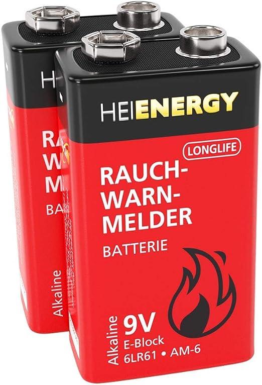 Heitech Rauchmelder Batterie 9v Block 8 Alkaline 9v Elektronik