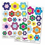 Kiwistar 40 teiliges Blumen Set Deko, Wandsticker Set Bogen Aufkleber farbig DIN A4 DIN A4Gesamtfläche: ca. 30x20cm