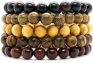 أساور خرز من الخشب الطبيعي والأصلي - مجوهرات عصرية مصنوعة يدويًا للرجال والنساء