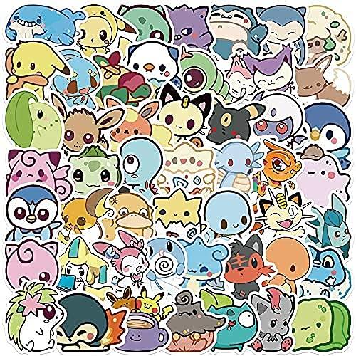 YACHAO 50 pièces Mignon Q Version Pokemon Graffiti Autocollants Valise Décorative Tasses d'eau Guitare Planche À roulettes Jouets Étanche DIY Autocollants