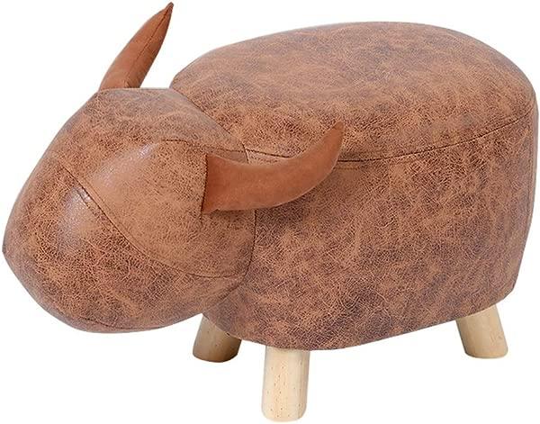实木儿童凳子小牛装饰 Pouffe 奥斯曼脚凳沙发凳换鞋板凳月腿