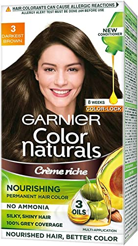 Garnier Color Naturals Crème hair color, Shade 3 Darkest Brown, 70ml + 60g product image