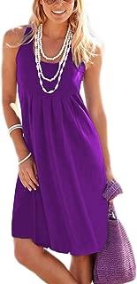 Women's Casual Summer Tank Sleeveless Knee Length Pleated Sun Dresses