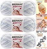 Bernat Softee Baby Yarn 3 Pack Bundle Includes 3 Patterns DK Light Worsted #3