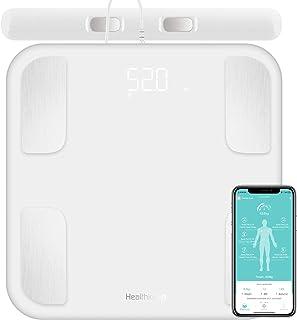 Körperfettwaage, Personenwaage mit 8 Elektroden Digitale Ganzkörperanalyse Waage mit APP und Handsensoren Smart Körperwaage für 18 Körperdaten Analysiert Körperfett, BMI, Gewicht, Muskelmasse, Weiß
