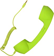 Retro Handset Old School Style Adjustable Tone Phone Telephone Receiver Microphone Earphone 3.5mm Socket for iOS Android Smartphones Mobile Cell Phones (Green)