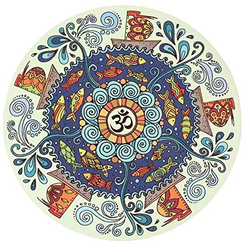 Ronde yogamat antislip natuurrubber verdikt speelkussen deken bedrukt vloermat meditatiemat