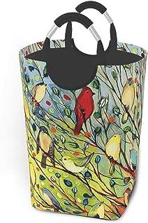 50l Grand Panier à Linge, paniers à Linge Pliables en Arbre à Oiseaux colorés avec poignées en Aluminium Sac de vêtements ...