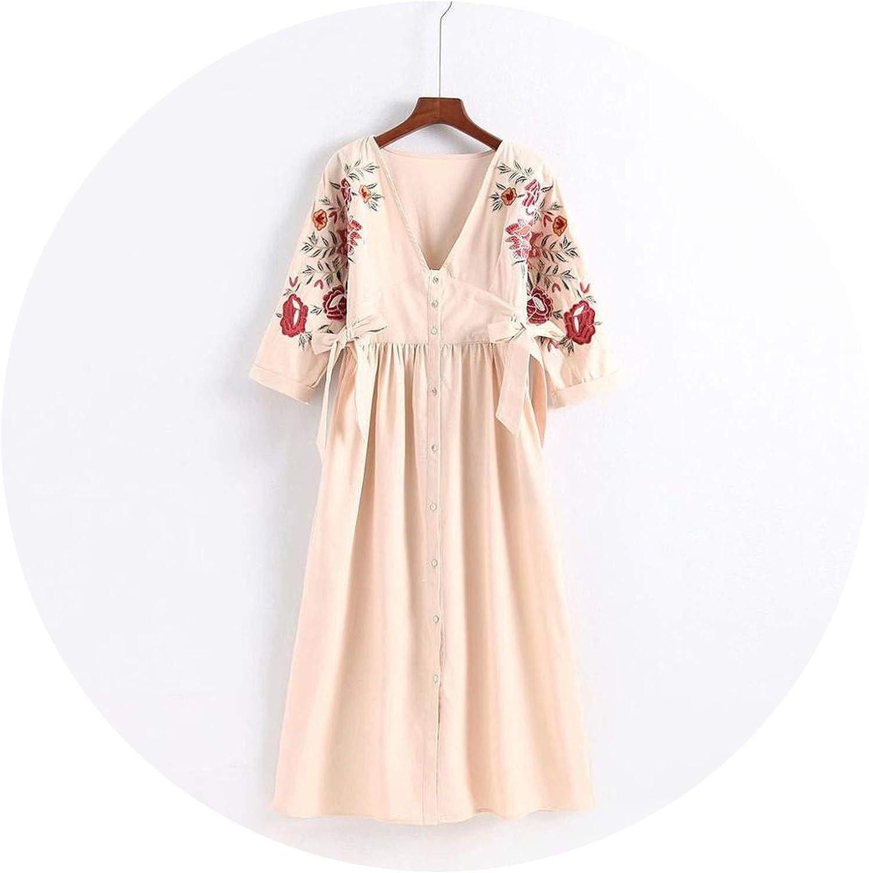 2018 Autumn Embroidery Deep V Neck Midi Dress Women Button Down Party Long Dress Half Sleeve Elegant Vestidos