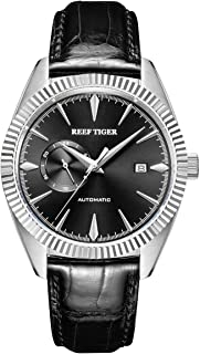 Reef Tiger Luxury Automatic Watches for Men Steel Genuine Leather Strap Dress Watch RGA1616