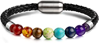 UMODE 7 Chakras Lava Natural Healing Tiger Eye Stone Bead Bracelet for Men Women Genuine Leather Rope with Stainless Steel Magnetic Buckle