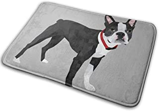NiYoung Memory Foam Bathroom Rug with Water Absorbent and Non-Slip Bath Mat for Bathroom Kitchen Fast Drying Floor Carpet Boston Terrier Grey