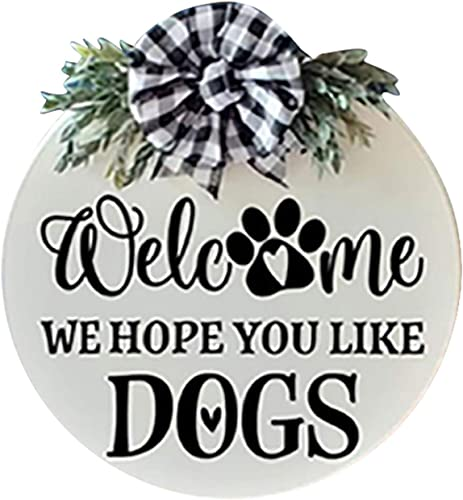 """high quality Welcome online sale Sign Front Door Wreath Decor Dog Welcome Wreaths Round Front Porch Decor Rustic Farmhouse Wall Hanging Decoration with Hanging Rope for Coffee Shop discount Home Decor, 12"""" sale"""