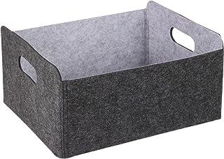 Foraco Paniers de rangement en feutre gris, boîte de rangement pliable, organisateur de boîtes de rangement ouvertes pour ...