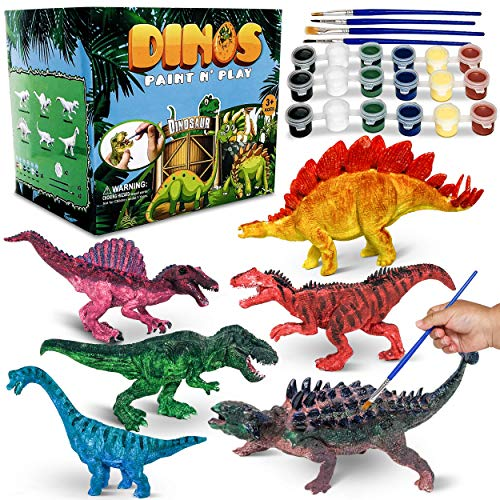CraftzLab Kids Dinosaur Painting Kit - Paint Your Own Dinosaur, Paint Dino Party Favors, Premium Kids Paint Toy - Model Craft Activity for Boys & Girls Age 3 to7 Years and Up