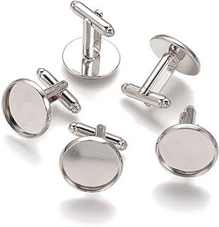 Pandahall 20pcs Brass Men's Cufflinks Cuff Button Cabochons Frame Tray Bezel Cufflink Blanks Setting Tray: 16mm/0.63inch Platinum