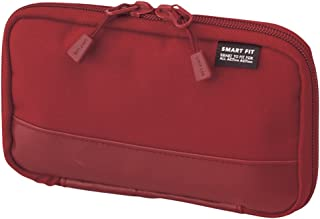 """LIHIT LAB. Compact Pen Case (Pencil Case), Water & Stain Repellent, Red, 3.5"""" x 6.5'' (A7687-3)"""