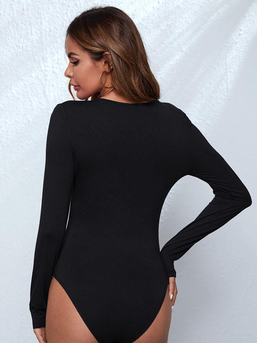 JYMBK Lace Jumpsuit Plunging Neck Fitted Bodysuit (Color : Black, Size : XS)