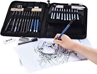 40pcs/ Set Professional Sketching Drawing Pencils Kit Including Sketch Graphite Charcoal Pencils Sticks Erasers Sharpeners...