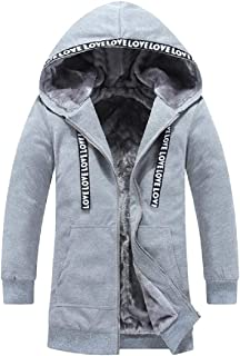 Howme-Men Stand Collar Fleece Lined Puffer Jacket with Strings
