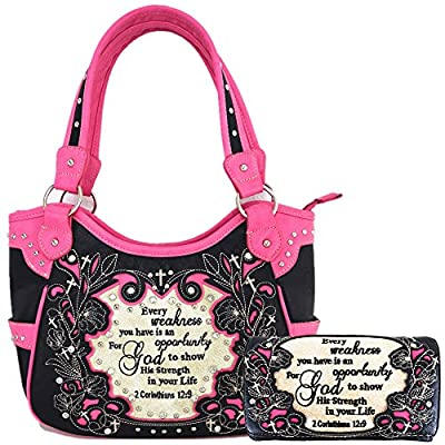 Embroidered Bible Verse 2 Corinthians 12:9 Purse Scripture Western Handbag Women Shoulder Bags Wallet Set (Black/Fuchsia)