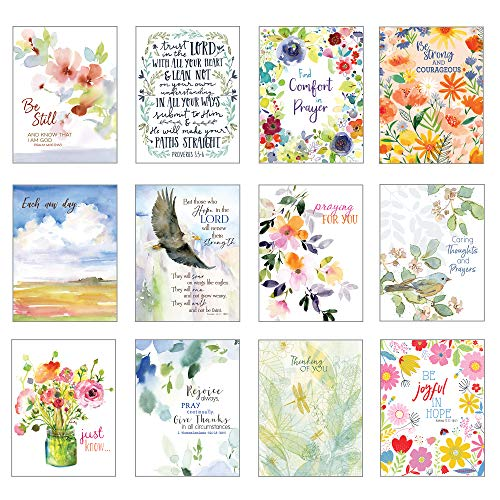"""Pack of 12 Assorted """"Simple Blessings"""" Thinking of You Greeting Cards with scripture"""