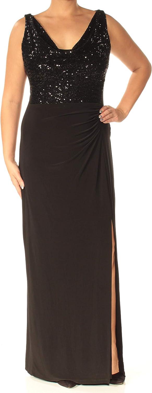 Lauren Ralph Lauren Womens Ruched Sequined Evening Dress Black 2