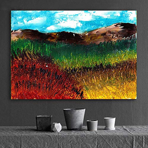 BailongXiao Flores de Colores Pintura al óleo Paisaje Pintura al óleo Sala de Estar Pintura Mural Pintura Decorativa,Pintura sin Marco,80x120cm