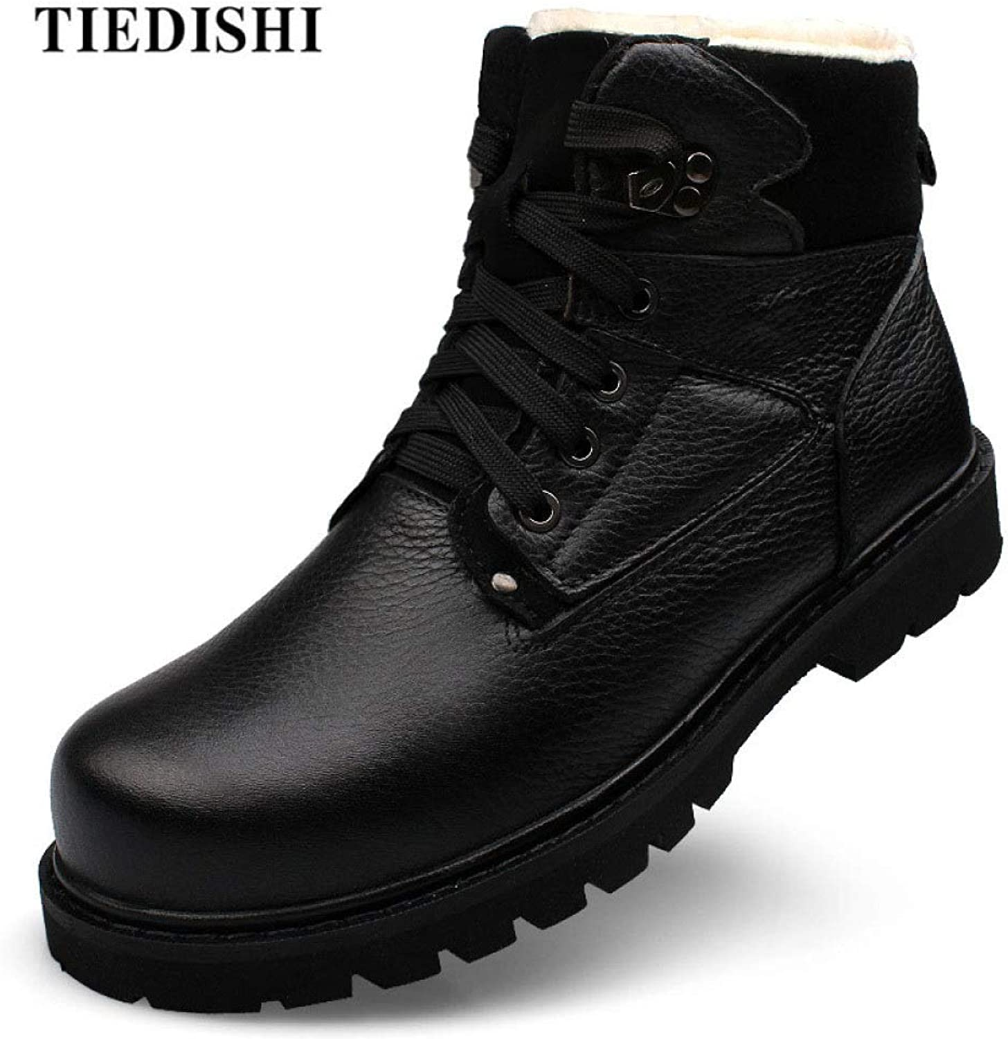 LIJUN Martin Boots Outdoor Working Men shoes Genuine Leather Autumn Winter Waterproof Ankle Size 38-47
