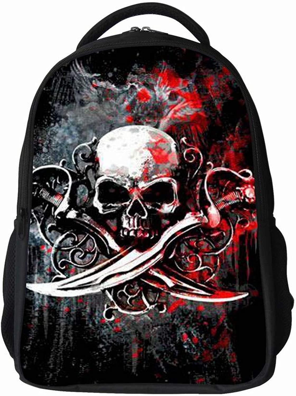 QiXian Pupils Skull Bag Burden Reduction MultiFunction Backpack Personality MultiFunction Durable Backpack, b